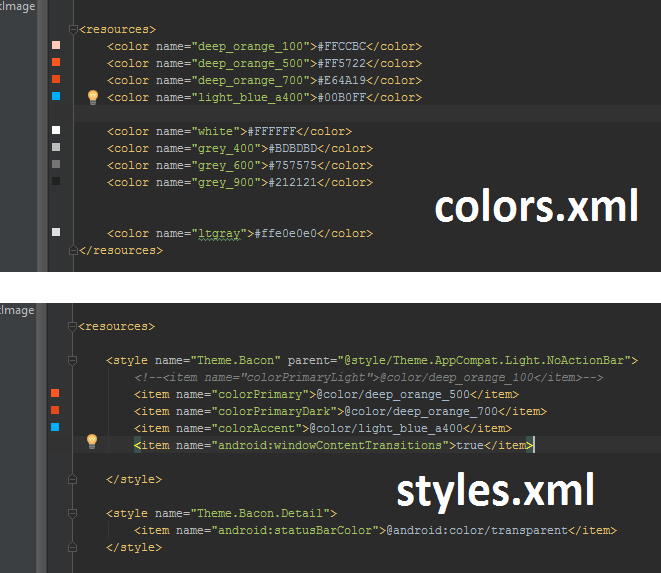 The colour and style xml files